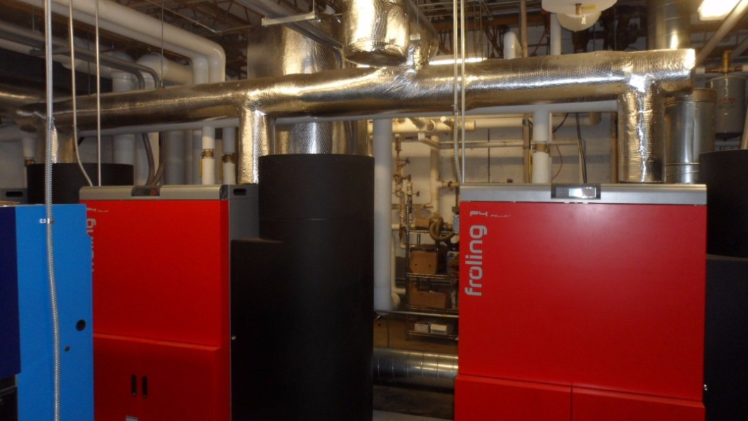 Two of the 3 pellet boilers and one Buderus oil boiler work together to heat the school.