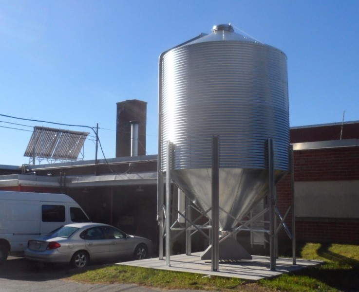 A 28 ton silo sits just outside the Mascoma High School boiler room.