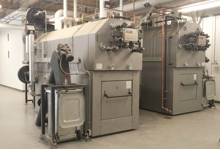 These are the two Viessmann Vitoflex 300-UF biomass boilers that heat the ALLWell Center at Plymouth State University. Each has a net heat output of 1.7 million BTUs per hour.
