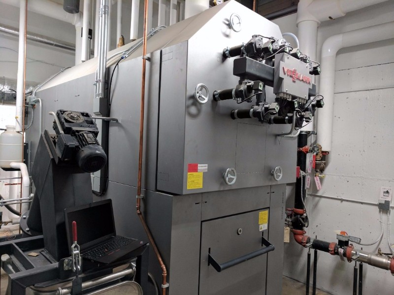 This one Viessmann Vitoflex 300-UF pellet boiler provides most of the at PRHS.