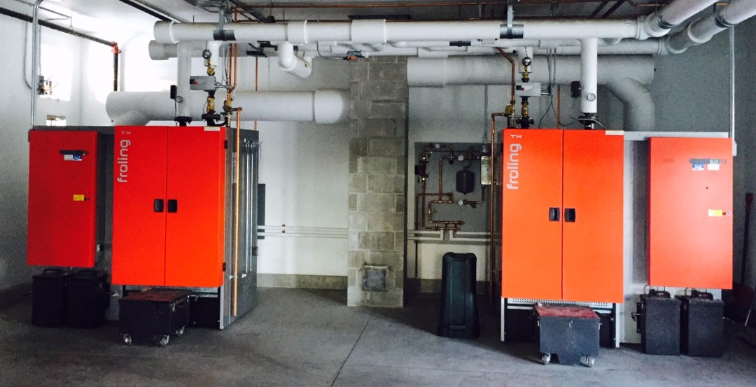 These two Froling TX-150 dry wood chip boilers are the main heat source for the 9 buildings of the High Mowing School Campus. Each has an output of 500,000 BTU/hour.
