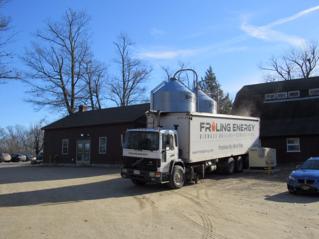 The Froling Energy truck delivers 15 tons of Precision Dry Wood Chips (PDCs) into the two silos that feed the biomass boilers.