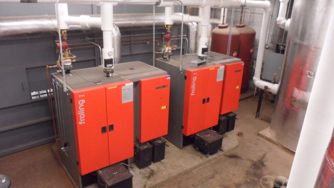 These two Froling boilers do most of the heating at Stevens High School in Claremont, NH. Total output of the biomass system is 1 million BTU per hour.