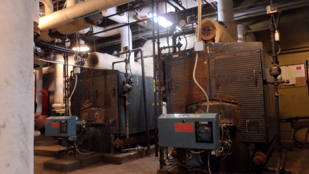 The old oil boilers remain in place for peaking and back-up, each with over 1.5 million BTUs per hour potential output.