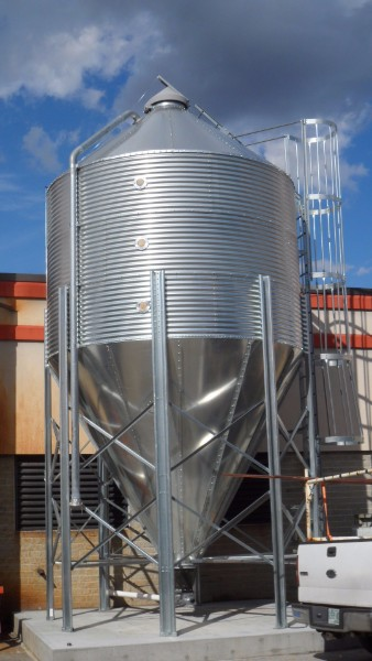 The 28 ton pellet silo sits just outside the central boiler room at Rutland High School and Stafford Tech Center.