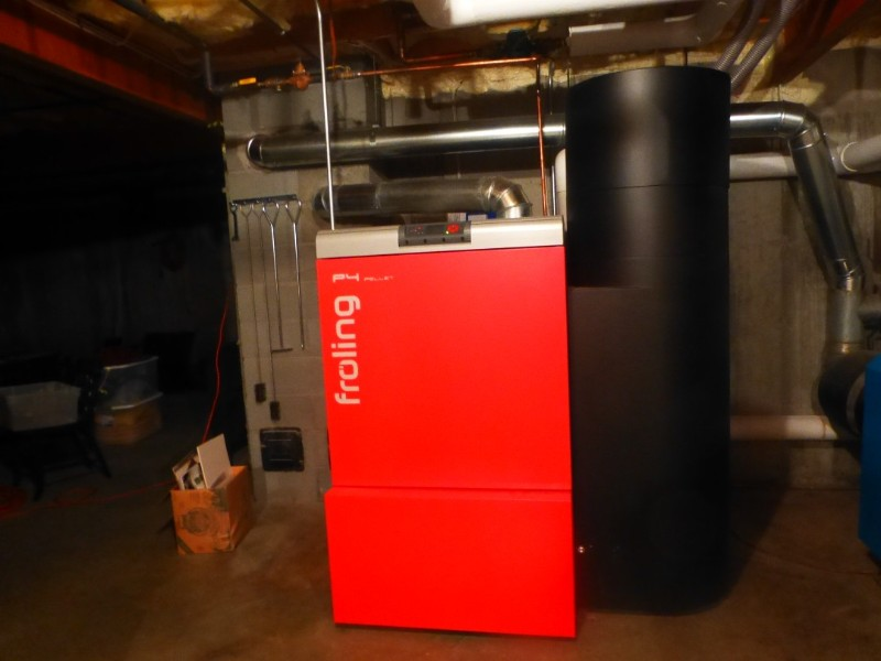 Fröling pellet boiler in basement of residence