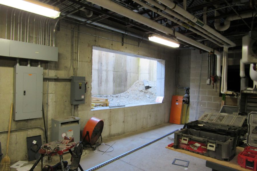 Access into the basement boiler room of Mill River Union High School