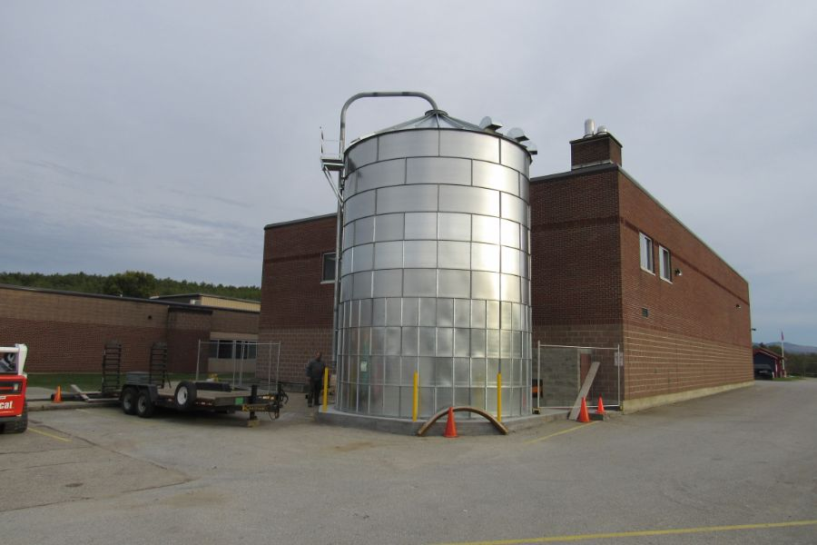 The wood chip silo at Mill River High School, N Clarendon