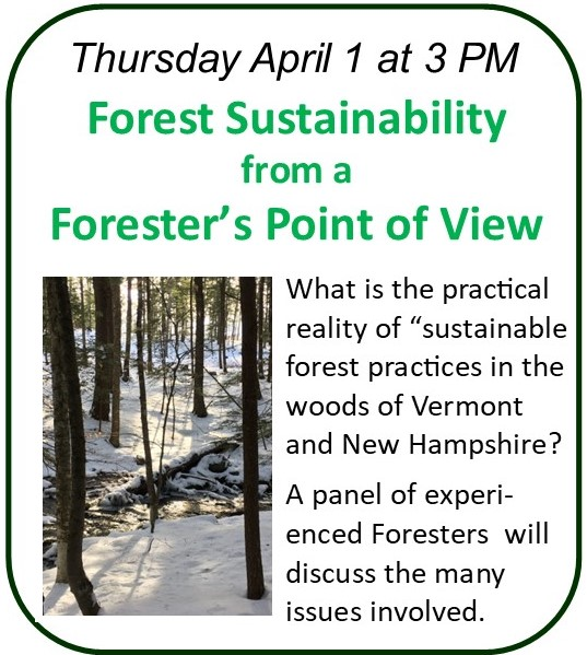 Webinar April 1 - Forest Sustainability from a Forester's Point of View